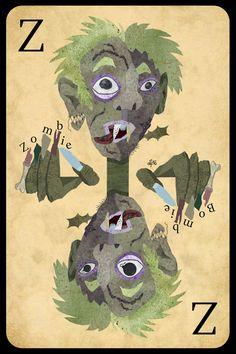 Finally: Z is for Zombie +++ Should the zombie explode, what would he be? +++ illustration by Daniela Faber 2016 +++ mythical creature mythology undead dead person rotting not living grey sick green wounds playing card game quiz puzzle