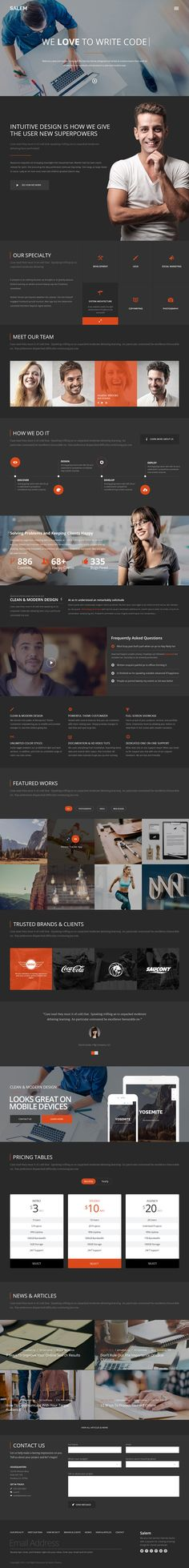 Salem is a clean and bold PSD template, built 100% with vector shapes in two color versions: light and dark...