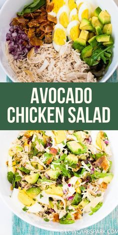 Easy Low Carb Keto Avocado Chicken Salad This easy keto chicken salad with avocado and bacon is full of flavor and very satisfying. It's made with wholesome ingredients that are very nutritious, easy to make, and loaded with healthy fats. Avocado Chicken Salad, Chicken Salad Recipes, Healthy Salad Recipes, Paleo Recipes, Recipes Dinner, Recipes With Avocado, Cooker Recipes, Paleo Food, Steak Recipes