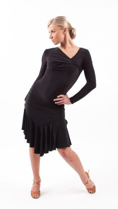 Elegant longsleeved blouse perfect for pairing with a skirt or pants. Luxe stretch fabric is quick-dry and perfect for any dance movement. Asymmetrical neckline. Complete with signature MiariSport gold tag.   PERFECT FOR: Tango, Cha Cha Cha, Rumba, Waltz, Foxtrot, Argentine Tango, Salsa, Samba