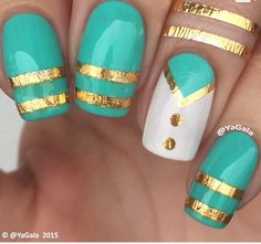 Nice blue and gold nail design