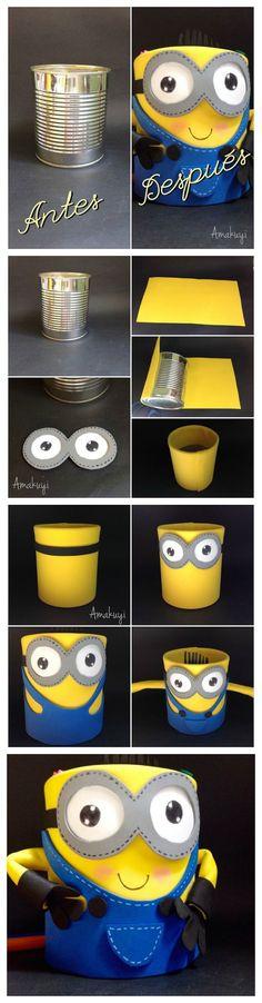 diy reciclar lata y convertirla en un portalápices con el motivo de #minions: