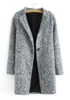 ++ grey plain buttons v neck long sleeve wool coat
