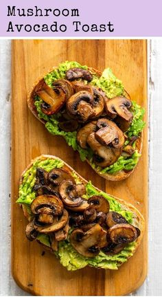 Kode Iklan Kode Iklan In Artikel HPK taruh disini This simple and flavorful vegan avocado toast is topped with warm skillet mushrooms and has a mildly garlic flavor. Mushroom Avocado Toast is perfect for brunch! Healthy Diet Recipes, Healthy Snacks, Vegan Recipes, Vegan Food, Raw Food, Vegan Meals, Dinner Healthy, Vegan Snacks, Easy Snacks
