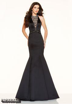 Jeweled Beading on Satin Prom Dress