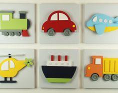 Set of 3 Transportation Wood Kids Wall Decor 3D by EleosStudio
