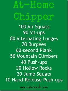 CrossFit home workout. Air Squats, sit-ups, alternating lunges, burpees, plank, mountain climbers, push ups, hollow rocks, jump squats and push ups.