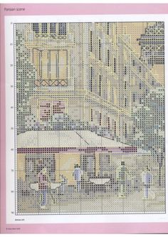 Europe city Paris France downtown, full free cross stitch pattern with DMC labeling - Page 2
