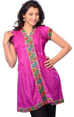 Picture of Amazing Magenta Color Designer Cotton Kurtis Online