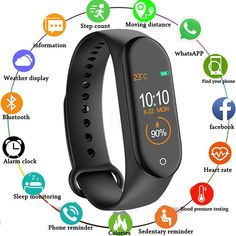 Smart Band Fitness Tracker Watch Heart Rate with Activity Tracker Waterproof Body Functions Like Steps Counter Calorie Counter Blood Pressure Heart Rate Monitor OLED Touchscreen - Black by Fidrox Smart Bracelet, Sport Watches, Watches For Men, Popular Watches, Casual Watches, Tracker Fitness, Fitbit, Tracker Free, Smartwatch