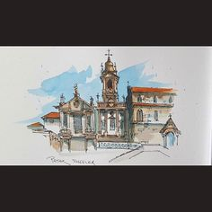Latest video posted on YouTube. Cathedral in Porto Portugal. Link to my YouTube Channel is in my bio or Cut and Paste:  https://m.youtube.com/c/petersheelerart  #Video #youtube #youtubers #landscape #art #original #watercolor #winsorandnewton #watercolour #painting #paintingaday #penandink  #architecture #ink #moleskine_arts #Porto #portugal #chapel #church