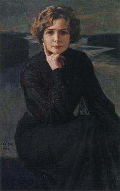 ALBERT EDELFELT  Näyttelijätär Elli Grahn-Niskan Muotokuva (Portrait of the Actress,1903)