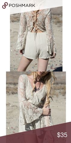 Lace up Romper  -NOT MY PHOTOS- Floral lace with tie up back. V-cut in front (has a hidden button to prevent revealing too much). Bell long sleeves. Super cute! One of my faves. True color is accurate in photos: beige. Not see through  **NO TRADES, PRICE FIRM** Brand is NOT fl&l, just for views. Follow my Instagram @ kat.btq For Love and Lemons Dresses