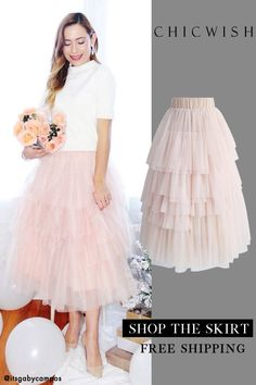 Love me more layered tulle skirt in pink skin - My best nail list Pink Outfits, Date Outfits, Classy Outfits, Pink Fashion, Fashion Outfits, Fashion Ideas, Womens Fashion, Bodysuit Blouse, Tulle
