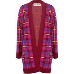 Etre Cecile  - PLAID OVERSIZED CARDIGAN ($298) ❤ liked on Polyvore featuring tops, cardigans, plaid cardigan, red cardigan jacket, open front tops, over sized cardigan and oversized open front cardigan