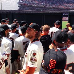 Yesterday the Garden at AT&T park was bursting with excitement as our San Francisco Giants paraded through the Garden to kick off Opening Day. We captured this photo just as the centerfield wall opened, revealing the team and a pensive Hunter Pence on his 32nd birthday to the rest of a sold out AT&T Park.