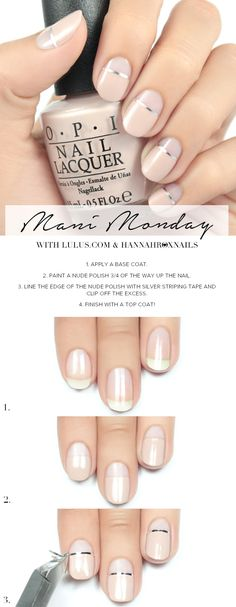 Extend style to your nails by using nail art designs. Worn by fashionable celebs, these types of nail designs can incorporate instantaneous allure to your outfit. Trendy Nail Art, New Nail Art, Easy Nail Art, Easy Art, Subtle Nail Art, Nail Art Designs, Simple Nail Designs, Nails Design, Diy Nail Designs Step By Step