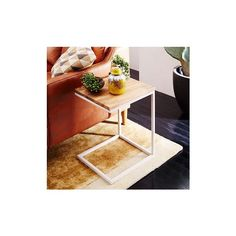 West Elm Box Frame C Side Table, Raw Mango/White - Side Tables - End... ($199) ❤ liked on Polyvore featuring home, furniture, tables, accent tables, mango wood table, white chairside table, mango furniture, white occasional table and white end table