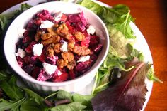 roasted beet and goat cheese salad w maple candied walnuts #hauteapplepie