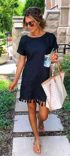 #summer #outfits  Black Tassel Dress   Gingham Tote Bag