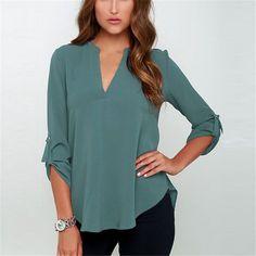 2015 Autumn Blusas V-neck Loose Feminina camisas Chiffon Shirts Large Size S-3XL Women Blouse Red Gray Green Fashion ropa mujer - http://realbigshop.com/?product=2015-autumn-blusas-v-neck-loose-feminina-camisas-chiffon-shirts-large-size-s-3xl-women-blouse-red-gray-green-fashion-ropa-mujer