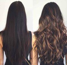 puntas californianas de encanto, cabello antes y después del balayage, pelo largo castaño oscuro con mechas doradas