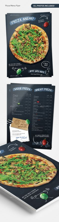 Pizza Chalkboard Menu by Elegant restaurant (pizza) menu in chalkboard style.All photos included I own the copyright print ready CMYK, 300 dpi Food Menu Template, Restaurant Menu Template, Restaurant Menu Design, Menu Templates, Print Templates, Pizza Art, Pizza Menu, Drink Menu Design, Food Design