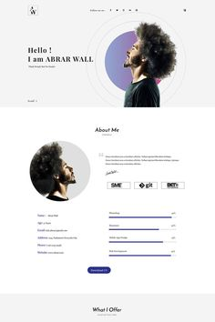 Abrar Wall Resume HTML Landing Page Template 68585 is part of Portfolio web design - Abrar Wall is a resume template If anyone want to show their identity and skill or education qualification and background they will use this Portfolio Design Layouts, Portfolio Website Design, Website Design Layout, Portfolio Web Design, Web Design Tips, Web Layout, Page Design, Creative Cv Design, Flat Design