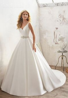 2017 Wedding Dresses and Bridal Gowns by Morilee by Madeline Gardner. This elegant Satin A-Line Bridal Gown has a Crystal Beaded Sheer Back and Waistline. A Line Bridal Gowns, Bridal Wedding Dresses, Wedding Dress Styles, Dream Wedding Dresses, Bridesmaid Dresses, 2017 Wedding, Wedding Planner, Mori Lee Bridal, Madeline Gardner
