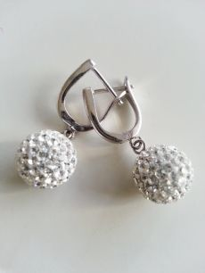 925 ayar gümüş,beyaz taşlı,top model küpe(KP00035)