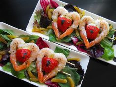Perfect Valentines' Day dinner appetizer idea for shrimp lovers. Simple and easy with a touch of love. Enjoy! seafood recipes, salad recipes, valentine day, twin heart, dinner ideas, glaze shrimp, food presentation, salads, apricot glaze