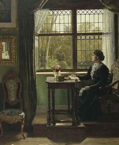 Interieur mit junger Frau am Fenster / Interior with young woman at the window, August Johann Holmberg. Light Painting, Painting & Drawing, Art Through The Ages, Reading Art, European Paintings, Victorian Art, Paintings I Love, Watercolor Illustration, Aesthetic Art