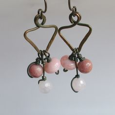 Pink Stones and Antique Copper Triangle Earrings Earthy Boho Style