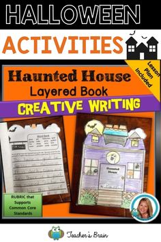Use this Haunted House Layered Book to support Creative Writing with your kindergarten or first grade students. A writing rubric aligned with Common Core Standards is included in this packet. The book is 5 pages total and builds student's creativity to have a final product of a short story about putting up a haunted house for sale. It also is cute on display in the classroom! #halloweenactivities #halloweenactivitiesfirstgrade #kindergartenhalloweenactivities #creativewritingactivities