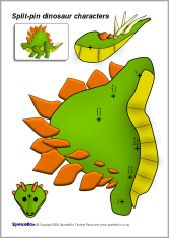 Split-pin dinosaur characters (SB1658) - SparkleBox For mix and match dino crafts.