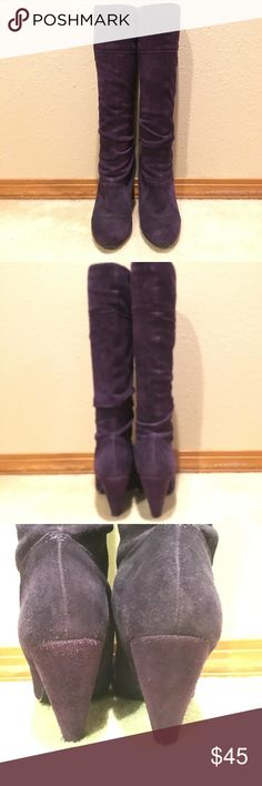 """Sz 6 Purple Suede Jessica Simpson Boots Older JS, circa 2008-2009 so actually decent quality.  No issues/ blemishes other than some minor wear on the back of the heels.  Heel is approx 2"""" Jessica Simpson Shoes Heeled Boots"""