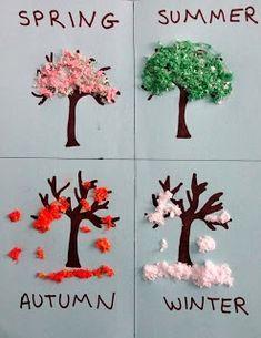 Actividades para preescolares, aprendiendo las cuatro estaciones, hechos con papel higiénico, resistol y colorante vegetal.
