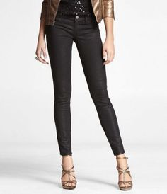 STELLA COATED JEAN LEGGING - BLACK GLITTER at Express on sale for $49.90