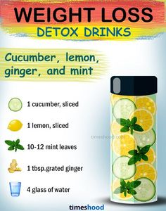 What to drink to lose weight. Cucumber lemon ginger and mint detox drink for weight loss. fat burning detox drinks for fast weight loss. detox drinks 15 Effective DIY Weight Loss Drinks [with Benefits & Recipes] Weight Loss Meals, Weight Loss Detox, Weight Loss Drinks, Weight Loss Smoothies, Detox Water To Lose Weight, Weight Loss Water, Drinks To Lose Weight, Detox Water For Clear Skin, Chia Seed Recipes For Weight Loss