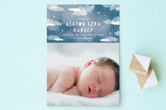 Celestial Clouds Birth Announcements by Grace Kreinbrink at minted.com