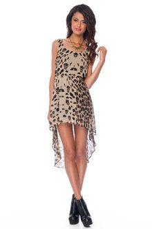Cats and Skulls Dress in Brown