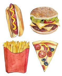 Imagen vía We Heart It https://weheartit.com/entry/142672759/via/3669513 #art #burger #drawings #fastfood #food #hotdog #pizza