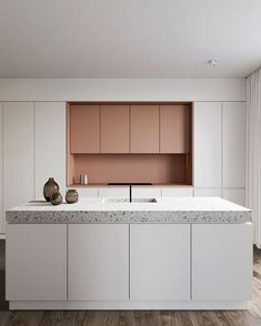 Eclectic kitchen with pink cabinets and terrazzo countertop designed by Amr Moussa Kitchen Cabinets Pictures, Kitchen Cabinet Styles, Modern Kitchen Cabinets, Eclectic Kitchen, Kitchen Interior, Kitchen Decor, Kitchen Design, Interior Modern, Home Interior Design