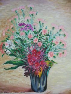 Artwork >> Mazouz Patrice >> bouquet in a vase Vallauris h / linen #artwork, #bouquet, #flowers  #oil, #painting, #masterpiece, #nature, #vase