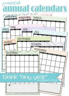 FREE PRINTABLE blank, any-year ANNUAL portrait style calendar... chevron, colorful, cute! #mycomputerismycanvas
