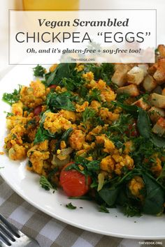 Vegan Scrambled Chickpea Eggs with Quick Hash (Egg-Free, Soy-Free Gluten-Free) | the vedge