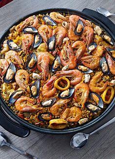 Shrimp Recipes, Fish Recipes, Healthy Recipes, Paella Recept, Bbq, Spanish Food, Fish Dishes, Love Food, Tapas