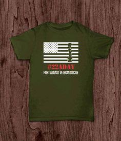 Veteran T Shirt, 22 a day, Veteran Suicide Awareness T Shirt by LivingWordDesigns16 on Etsy