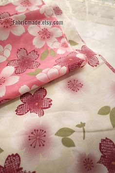 Japanese Shabby Chic Cotton Fabric Pink White Sakura by fabricmade, $5.00