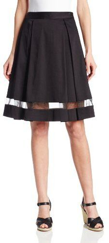 Vince Camuto Women's Pleated Midi Skirt with Sheer Inset on shopstyle.com
